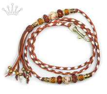 Kangaroo leather show lead in saddle tan, white & whisky - Emoticon Kangaroo Leather Show Leads