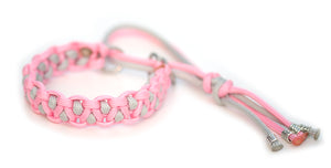 Paracord collar pink grey