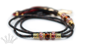 Kangaroo leather show lead in black & chocolate - Emoticon