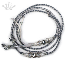 Kangaroo leather show lead in grey & dove grey - Emoticon Kangaroo Leather Show Leads