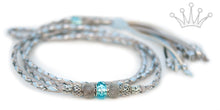 Kangaroo leather show lead in dove grey, baby blue & silver - Emoticon Kangaroo Leather Show Leads