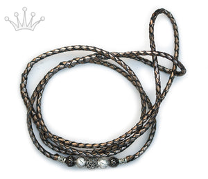 Kangaroo leather show lead in bronze & pewter - Emoticon