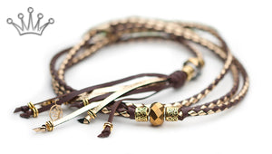 Kangaroo leather show lead in dark brown & gold - Emoticon Kangaroo Leather Show Leads