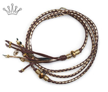 Kangaroo leather show lead in dark brown & gold - Emoticon