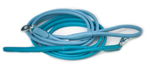 Round leather lead - BABY BLUE