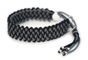 Paracord collar in Black & Steel Grey