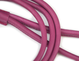 Cerise round dog leather lead