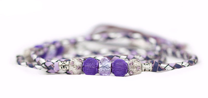 Kangaroo leather show lead in purple, lavender & silver - Emoticon Kangaroo Leather Show Leads
