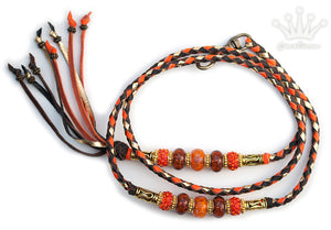Kangaroo leather show lead in orange, gold & chocolate - Emoticon Kangaroo Leather Show Leads