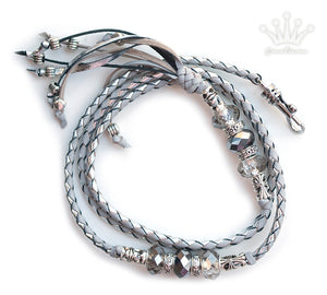 Kangaroo leather show lead in dove grey & silver - Emoticon