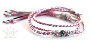Kangaroo leather show lead in soft pink & silver - Emoticon Kangaroo Leather Show Leads