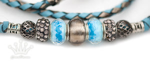 Kangaroo leather show lead in sky blue and pewter - Emoticon Kangaroo Leather Show Leads