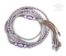 Kangaroo leather show lead in dove grey & lavender - Emoticon