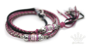 Kangaroo leather show lead in hot pink & pewter - Emoticon Kangaroo Leather Show Leads