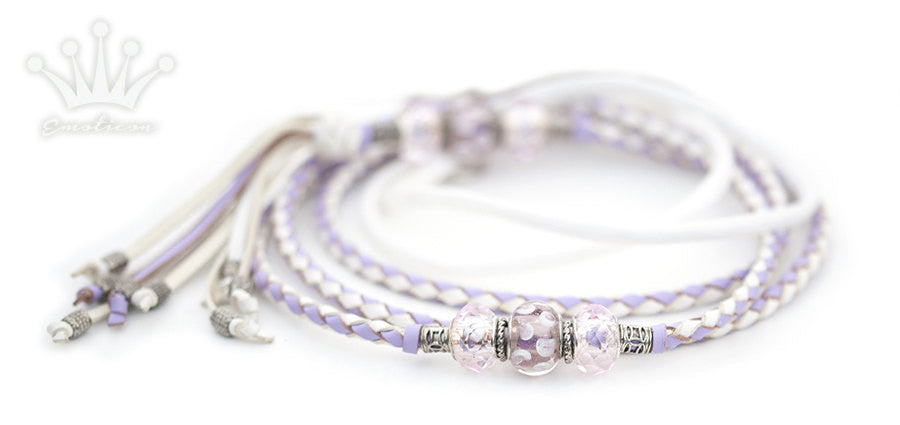 Kangaroo leather show lead in white & lavender - Emoticon Kangaroo Leather Show Leads