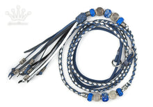 Kangaroo leather show lead in jacaranda & silver - Emoticon Kangaroo Leather Show Leads