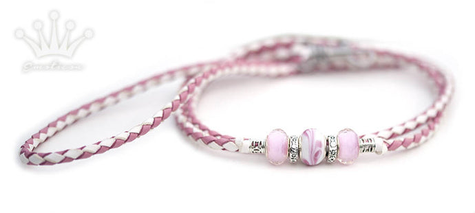Kangaroo leather show lead in soft pink and white - Emoticon Kangaroo Leather Show Leads