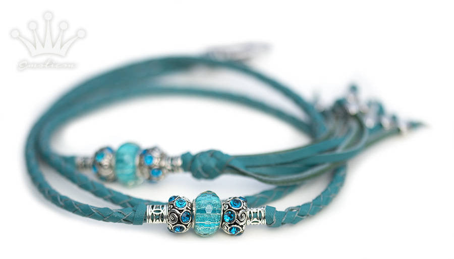 Kangaroo leather show lead in turquoise - Emoticon Kangaroo Leather Show Leads