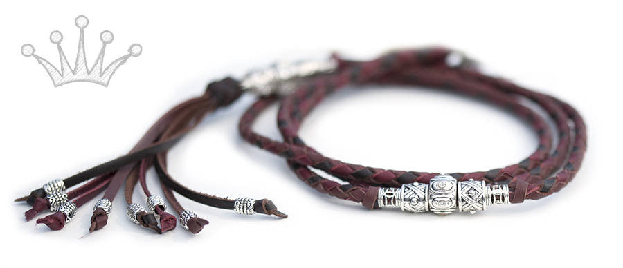 Kangaroo leather show lead in cerise, chestnut & whisky - Emoticon