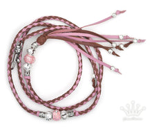 Kangaroo leather show lead in soft pink & whisky - Emoticon Kangaroo Leather Show Leads