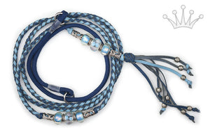 Kangaroo leather show lead in royal blue & sky blue - Emoticon Kangaroo Leather Show Leads