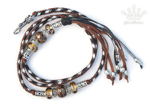 Kangaroo leather show lead in whisky, black & silver - Emoticon Kangaroo Leather Show Leads