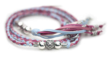Kangaroo leather show lead in baby blue, soft pink & hot pink - Emoticon Kangaroo Leather Show Leads