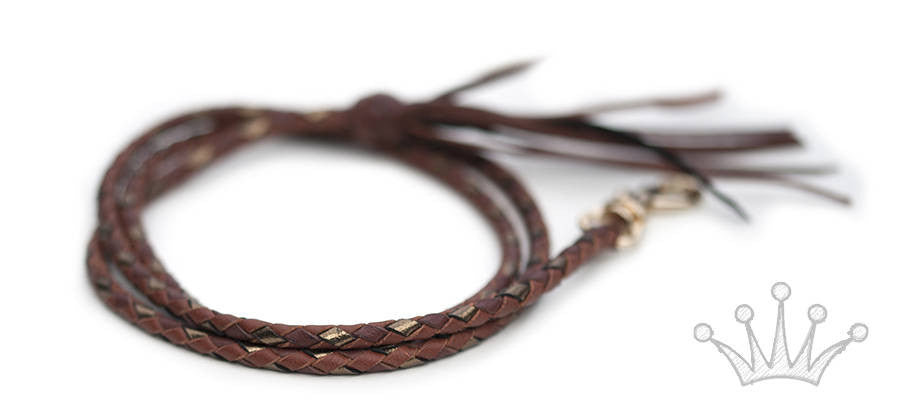 Kangaroo leather show lead in burgundy, bronze & whisky - Emoticon