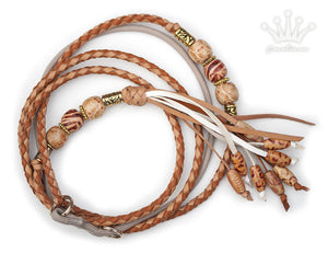 Kangaroo leather show lead in natural & saddle tan - Emoticon Kangaroo Leather Show Leads
