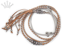 Kangaroo leather show lead in natural & dove grey - Emoticon Kangaroo Leather Show Leads