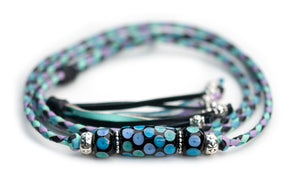 Kangaroo leather show lead in black, lavender, mint & sky blue