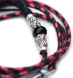 Kangaroo leather show lead in lipstick pink & black