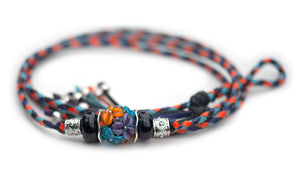 Kangaroo leather show lead in black, orange, sky blue & purple