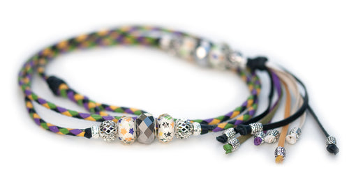 Kangaroo leather show lead in apple, black, yellow & moroccan purple