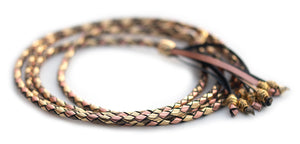 Kangaroo leather show lead in gold, bronze & copper