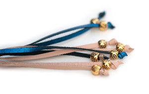 Kangaroo leather show lead in natural, blue glitter & gold
