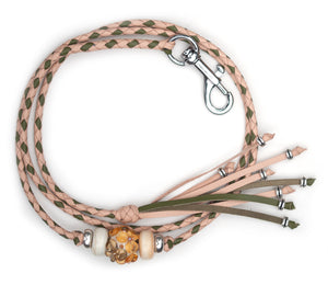 Kangaroo leather show lead in natural & olive