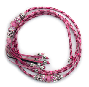 Kangaroo leather show lead in soft pink, hot pink & lipstick pink