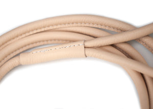 Natural round dog leather lead