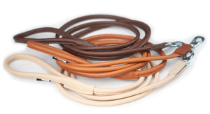 Round leather lead - BROWN