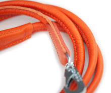 Orange round dog leather lead