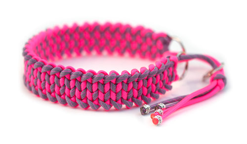 Martingale paracord collar in Neon Pink / Bubble Gum Pink & Smoke Grey (Helix)