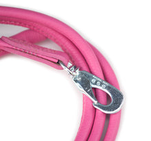 Pink round dog leather lead