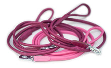 Round leather lead - CERISE