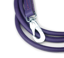 Purple round dog leather lead