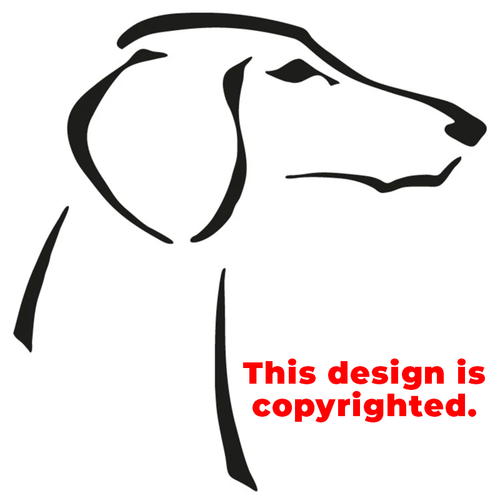 Smooth Saluki head sticker/decal in adhesive vinyl