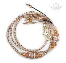 Kangaroo leather show lead in natural & gold - Emoticon Kangaroo Leather Show Leads