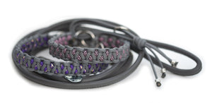 Martingale paracord collar in Steel Grey / Acid Purple & Gold Glitter with grey leather lead