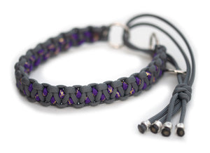 Martingale paracord collar in Steel Grey / Acid Purple & Gold Glitter