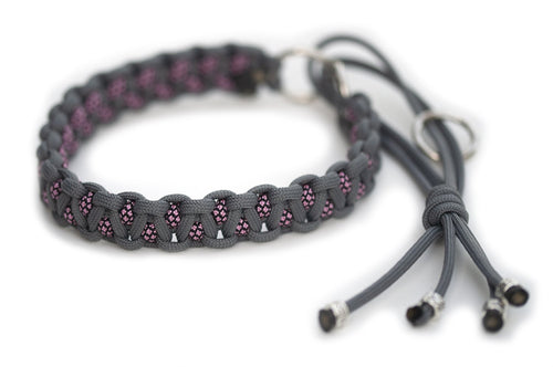 Martingale paracord collar in Steel Grey / Rose Pink Diamonds